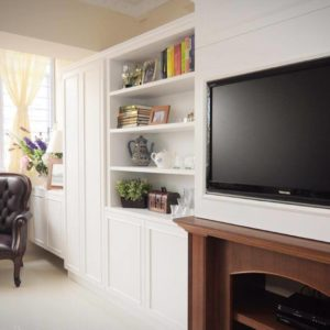 Integrated TV Console and Fireplace