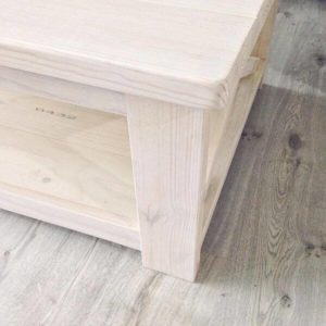 Closer Shot - Solid Wood Coffee Table with White Washed Effect