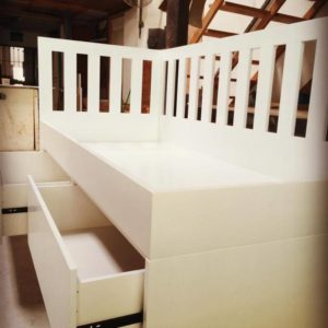 Close up view of drawers on daybed