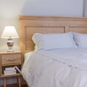 Solid Wood Oak Bed with Side Table - Headboard Close Up