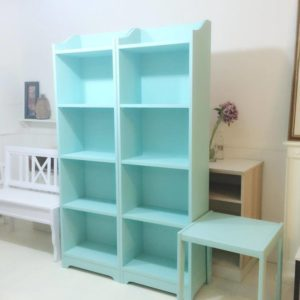 Kids Twin Turqoise Bookshelves with Table