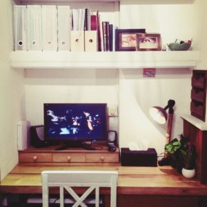 Custom Study Table Unit with Overhead Shelves