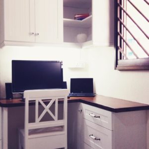 Corner Study Table Unit with Overhhead Cabinets