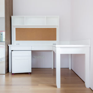 Study Table with Built-in Corkboard - L Shape