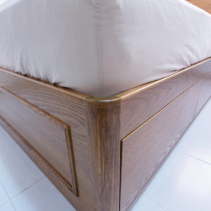 Stained Ash Wood Queen Size Bed - Rounded Frame