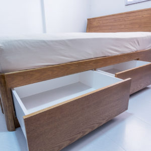 Stained Ash Wood Queen Size Bed - Drawers with Blum Runners