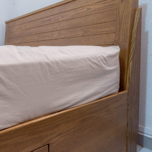 Stained Ash Wood Queen Size Bed - Headboard Close Up