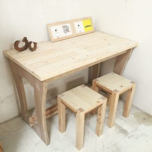 Raw Solid Pine Table Top Set - Side View