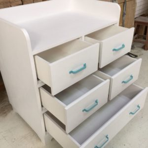 Aqua Changing Table - Open Drawers