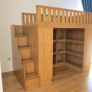 Loft Bed with Cubby Storage - Full View