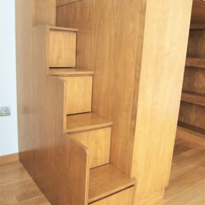 Loft Bed with Cubby Storage - Staircase