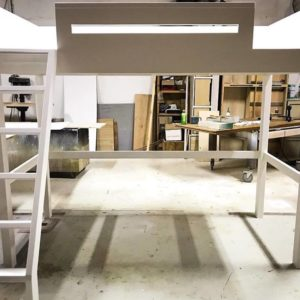 Loft Bed with Angled Ladder White