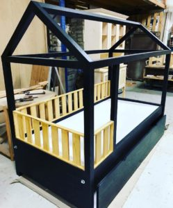 Black Trundle Montessori Bed with Fences